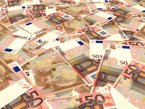 Euro banknotes background. Fifty euro banknotes background. Perspective view. 3D illustration Stock Photography