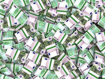 Euro banknotes background. One hundred euro banknotes background. 3D illustration Royalty Free Stock Photos