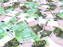 Euro banknotes background. One hundred euro banknotes background. Perspective view. 3D illustration Royalty Free Stock Images