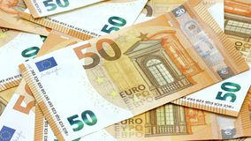 50 euro banknotes or bills carpet rack focus 4k footage.  stock footage