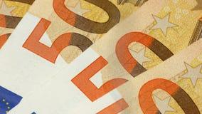 50 euro banknotes or bills closeup or macro rotating 4k footage.  stock footage