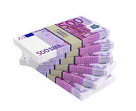 500 Euro banknotes. 500 Euro bills isolated on white background Royalty Free Stock Photo