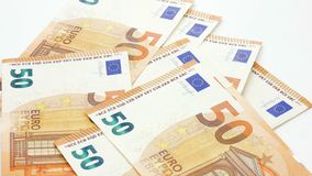 50 euro banknotes or bills thrown on white background 4k footage.  stock video footage