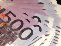 500 euro banknotes on a black background Stock Photo