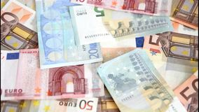 Euro banknotes are blown away Stock Image