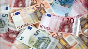 Euro banknotes are blown away Stock Images