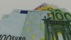 Euro banknotes, bokeh. Motion graphic stock video footage