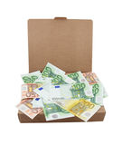 Euro banknotes in a box Royalty Free Stock Images