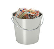 50 Euro banknotes in a bucket - isolated on white Royalty Free Stock Image