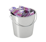 500 Euro banknotes in a bucket - isolated on white. Euro banknotes in a bucket - isolated on white Royalty Free Stock Photo