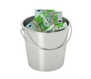 100 Euro banknotes in a bucket - isolated on white Stock Photos