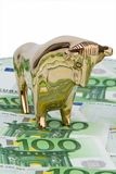 Euro banknotes. Bull and Bear Royalty Free Stock Images