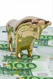 Euro banknotes. Bull and Bear Royalty Free Stock Images