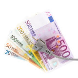 Euro banknotes with cable Stock Photography