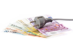 Euro banknotes with cable Stock Photos