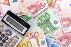Euro banknotes and calculator 3 Stock Images