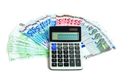 Euro banknotes and calculator Royalty Free Stock Photography