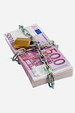 Euro banknotes with chain and padlock Royalty Free Stock Photo