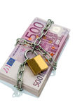 Euro banknotes with chain and padlock Royalty Free Stock Photos