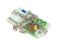 Euro banknotes with chain and padlock Royalty Free Stock Photography