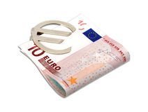 Euro banknotes with clip. Euro banknotes with money clip isolated on white background Stock Photo