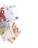 Euro banknotes close up, European currency Stock Photos
