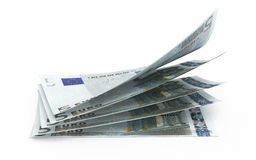 5 euro banknotes close-up. Five euro banknotes close-up (isolated on white and clipping path stock illustration