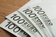 Euro banknotes close up. Several hundred euro banknotes royalty free stock photo