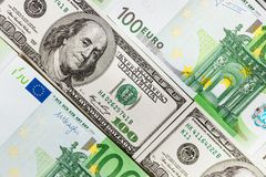 Euro banknotes close up. Several hundred euro banknotes. Euro vs dollar as background royalty free stock photo