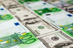Euro banknotes close up. Several hundred euro banknotes. Euro vs dollar as background stock images