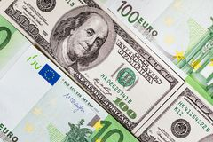 Euro banknotes close up. Several hundred euro banknotes. Euro vs dollar as background royalty free stock photos