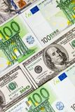 Euro banknotes close up. Several hundred euro banknotes. Euro vs dollar as background royalty free stock images