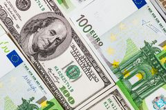 Euro banknotes close up. Several hundred euro banknotes. Euro vs dollar as background stock photo
