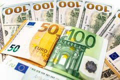 Euro banknotes close up. Several hundred euro banknotes. Euro vs dollar as background royalty free stock image