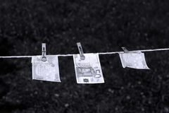 Euro banknotes with clothespins Royalty Free Stock Photography