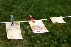 Euro banknotes with clothespins Royalty Free Stock Photos