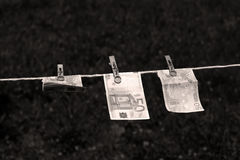 Euro banknotes with clothespins Stock Photos