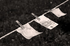 Euro banknotes with clothespins Stock Photography