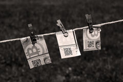 Euro banknotes with clothespins Royalty Free Stock Image