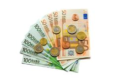 Euro banknotes and coins. Euro bank notes and coins Royalty Free Stock Photo