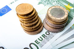 Euro banknotes and coins Royalty Free Stock Photo