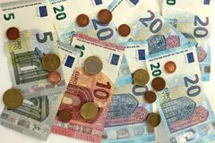 Euro Banknotes and Coins. Close up of Euro Banknotes and Coins royalty free stock photography