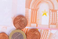 Euro Banknotes and Coins Currency Money Royalty Free Stock Images