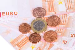 Euro Banknotes and Coins Currency Money Stock Images