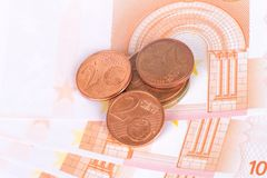 Euro Banknotes and Coins Currency Money Royalty Free Stock Image