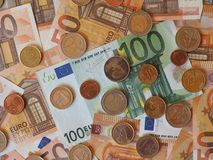 Euro notes and coins, European Union. Euro banknotes and coins (EUR), currency of European Union Stock Images