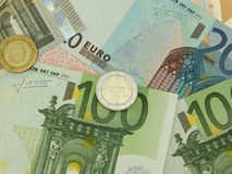 Euro banknotes and coins. Euro (EUR) banknotes and coins from Cyprus Stock Images