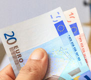Euro. Banknotes on a computer as concept of online business Royalty Free Stock Photography