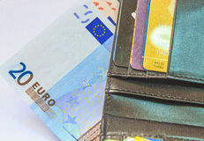 Euro. Banknotes on a computer as concept of online business Royalty Free Stock Image