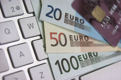 Euro banknotes and credit card Stock Photography